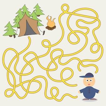 Modello di gioco del labirinto con bambini in campeggio - illustrazione