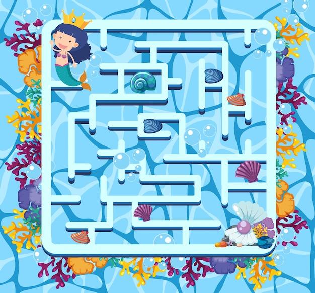 Modello di gioco del labirinto con sirena nuotare nel mare
