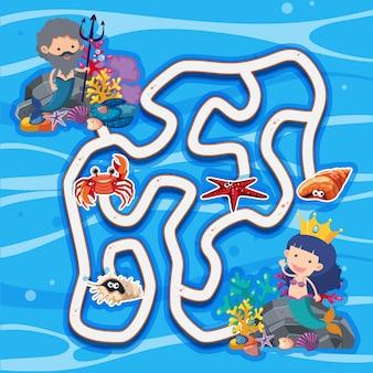 Modello di gioco del labirinto con sirene sotto il mare