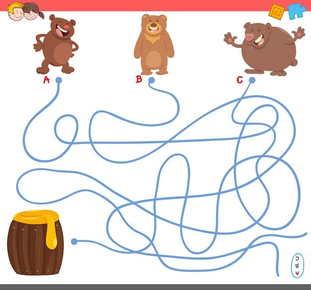 Gioco del labirinto con personaggi orso Vettore Premium