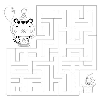 Gioco del labirinto con torta di compleanno e regali di tigre del fumetto kawaii