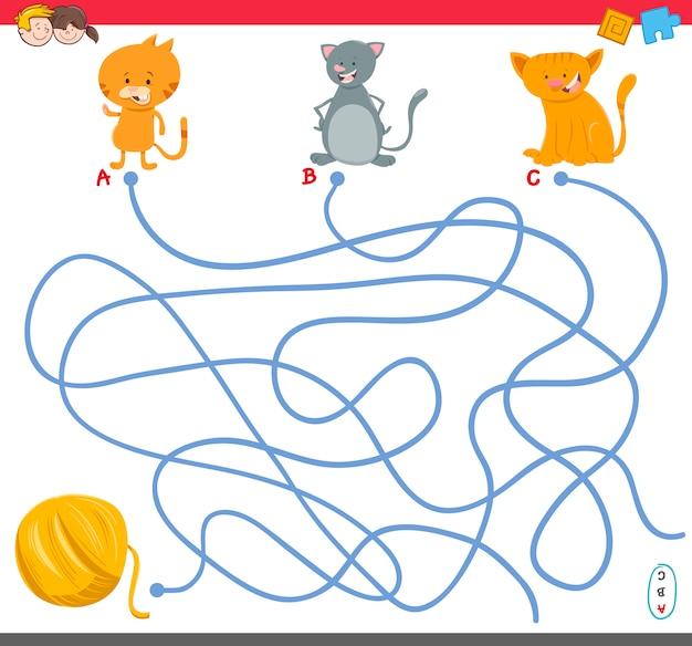 Gioco del labirinto con personaggi gattino