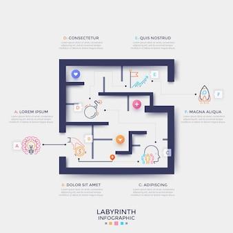 Schema labirinto o labirinto con punti di inizio e fine, pittogrammi lineari e posto per il testo. concetto di ricerca di soluzioni aziendali. modello di progettazione infografica creativa. illustrazione vettoriale.