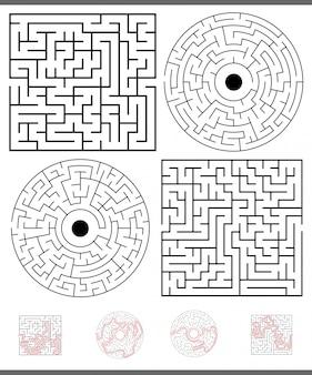 Gioco di svago labirinto con soluzioni