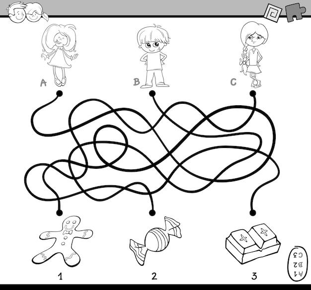 Pagina da colorare puzzle labirinto