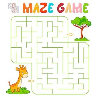 Gioco di puzzle del labirinto per i bambini. labirinto o gioco del labirinto con la giraffa. illustrazioni vettoriali