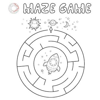 Gioco di puzzle del labirinto per i bambini. delineare il labirinto del cerchio o il gioco del labirinto con il razzo.