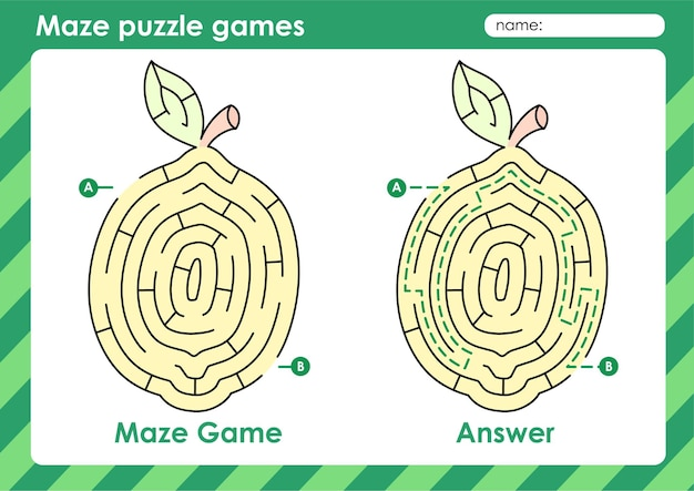 Attività di giochi di puzzle labirinto per bambini con foto di frutta limone