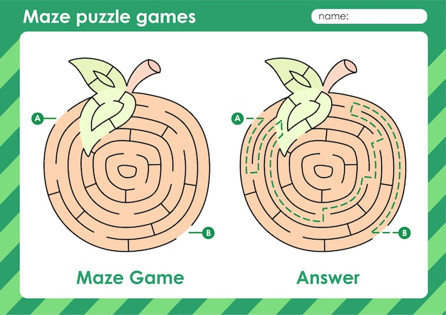 Attività di giochi di puzzle labirinto per bambini con immagine di frutta arancione