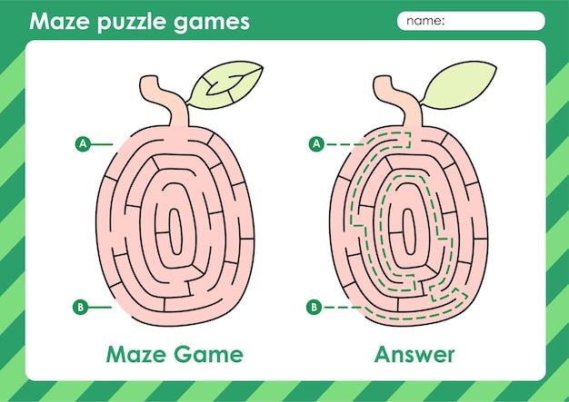 Attività di giochi di puzzle labirinto per bambini con immagine di frutta ximenia