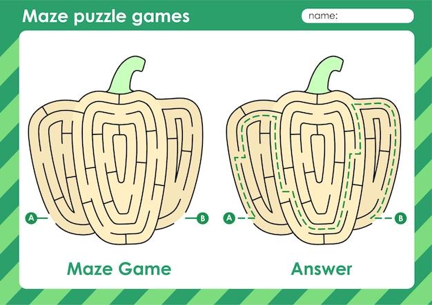 Attività di giochi di puzzle labirinto per bambini con immagine di frutta peperone giallo