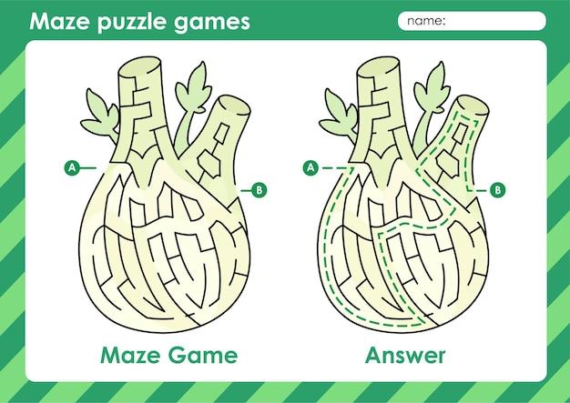 Attività di giochi di puzzle labirintici per bambini con foto di frutta e verdura finocchio