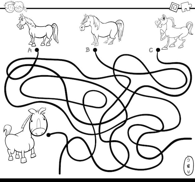 Pagina di colorazione compito labirinto