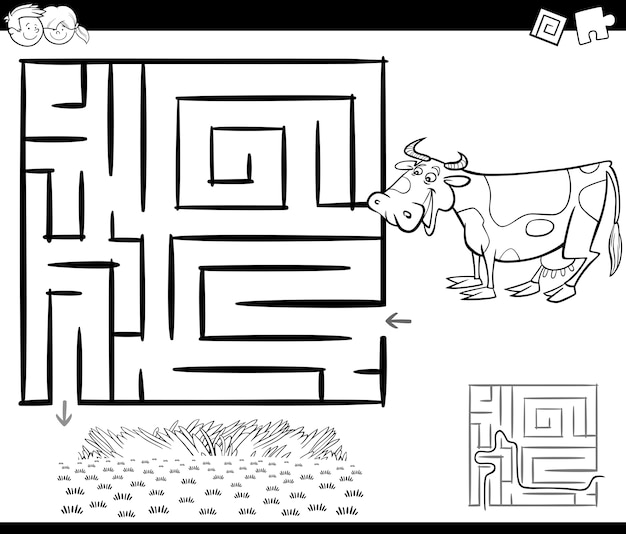 Labirinto con mucca per la colorazione