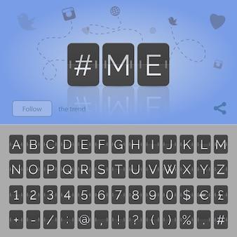 Me hashtag con numeri e simboli dell'alfabeto del tabellone segnapunti a fogli mobili neri