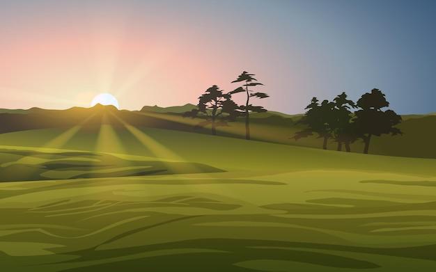 Paesaggio di prato con alba incandescente