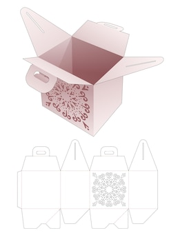 Scatola del pasto con stencil di mandala e modello fustellato per la maniglia