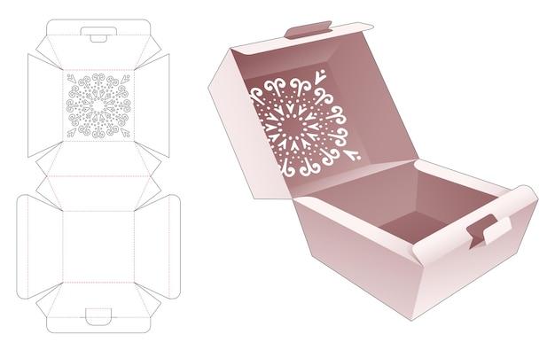 Scatola a fogli mobili con stencil mandala su modello fustellato