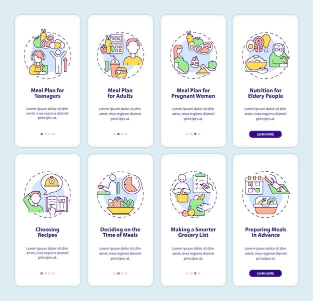 Set di schermate della pagina dell'app mobile onboarding relativo al piano alimentare e alla dieta