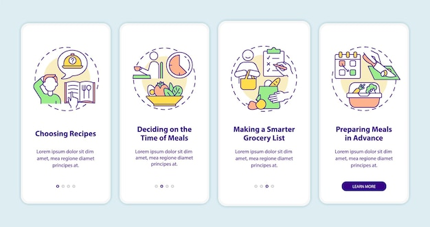 Nozioni di base sulla pianificazione dei pasti nella schermata della pagina dell'app mobile a bordo. preparare i pasti procedura dettagliata 4 istruzioni grafiche con concetti. modello vettoriale ui, ux, gui con illustrazioni a colori lineari