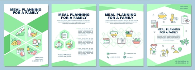 Pianificazione dei pasti per il modello di brochure familiare. dieta per bambini, adulti. volantino, opuscolo, stampa di volantini, copertina con icone lineari. layout vettoriali per presentazioni, relazioni annuali, pagine pubblicitarie