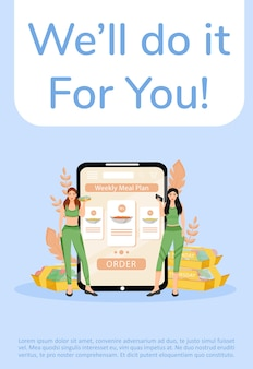 Modello piatto di poster di servizio di preparazione e consegna dei pasti. brochure del menu di nutrizione sana, concept design di una pagina con i personaggi dei cartoni animati. volantino per l'ordinazione del piano alimentare settimanale, volantino
