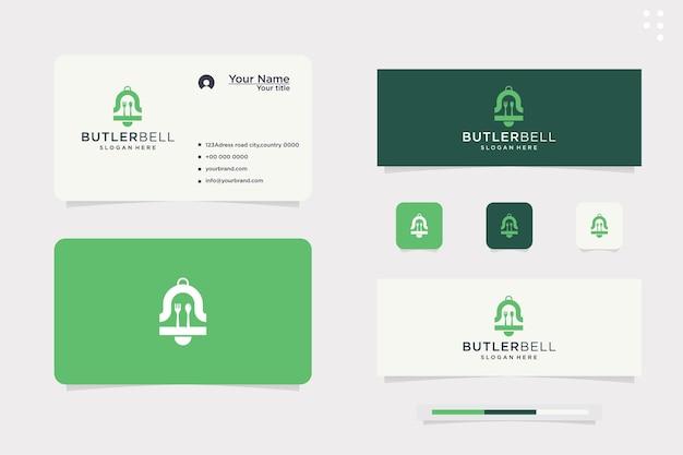 Design del logo della campana per i pasti, tempo di cottura, colazione, pranzo, sveglia per i pasti, app mobile. modello di logo vettoriale