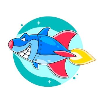 Illustrazione di squalo cyborg robot armato metallo medio