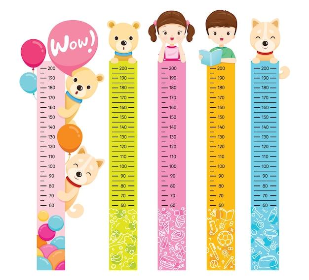Altezza misurata impostata con ragazza, ragazzo, cane e orso
