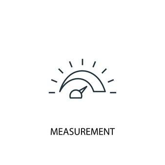 Icona della linea del concetto di misurazione. illustrazione semplice dell'elemento. disegno di simbolo di contorno del concetto di misurazione. può essere utilizzato per ui/ux mobile e web
