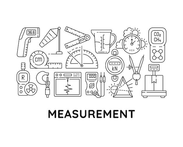 Strumenti di misurazione layout concetto lineare astratto con titolo. dispositivi per misurare l'idea minimalista. peso, lunghezza controllare i disegni grafici a linee sottili. icone di contorno vettoriali isolate per lo sfondo