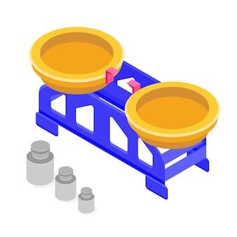 Scala di misurazione con icona isometrica di pesi