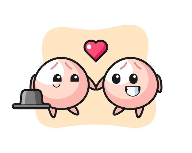 Coppia di personaggi dei cartoni animati di panino di carne con gesto di innamoramento, design in stile carino per maglietta, adesivo, elemento logo