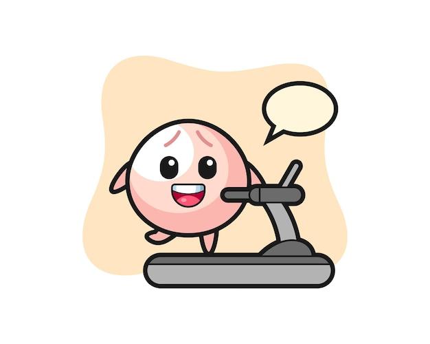 Personaggio dei cartoni animati di panino di carne che cammina sul tapis roulant, design in stile carino per maglietta, adesivo, elemento logo