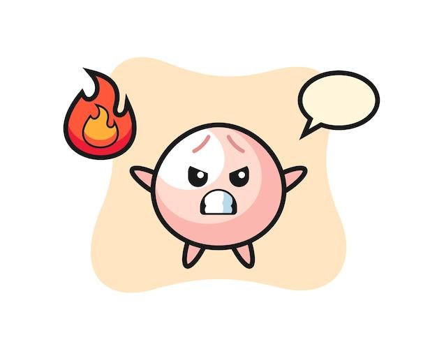 Cartone animato di panino di carne con gesto arrabbiato, design in stile carino per maglietta, adesivo, elemento logo