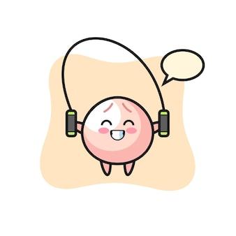 Personaggio dei cartoni animati di panino di carne con corda per saltare, design in stile carino per maglietta, adesivo, elemento logo