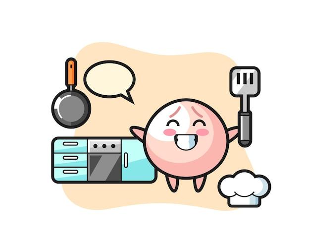 Illustrazione del personaggio del panino di carne mentre uno chef sta cucinando, design in stile carino per maglietta, adesivo, elemento logo