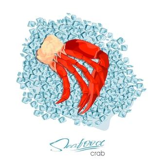Granchio di carne su cubetti di ghiaccio design di prodotti ittici fauna selvatica abitante del mondo sottomarino