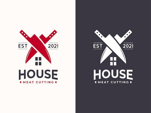 Concetto di design del logo della casa di taglio della carne