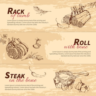 Banner di piatti di carne disegnati a mano