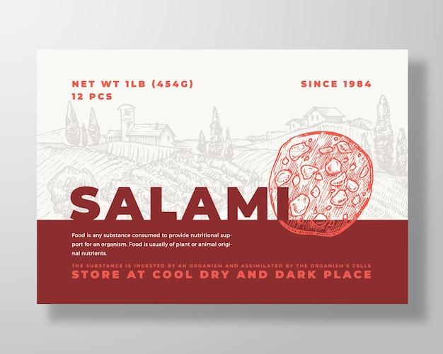 Modello di etichetta per alimenti a base di carne vettore astratto packaging design layout tipografia moderna banner con la mano ...