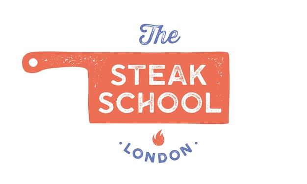 Logo di carne. modello di logo per scuola di cucina, classe, corso di cucina con coltello da chef icona, tipografia di testo steak school. modello di logo grafico - etichetta, banner.