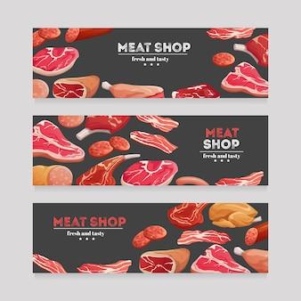 Banner di prodotti a base di carne. salsiccia di manzo e maiale, prosciutto e salame, pancetta. insieme di vettore dell'insegna della carne di macelleria