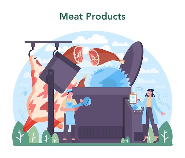 Concetto di industria di produzione di carne. illustrazione vettoriale isolato