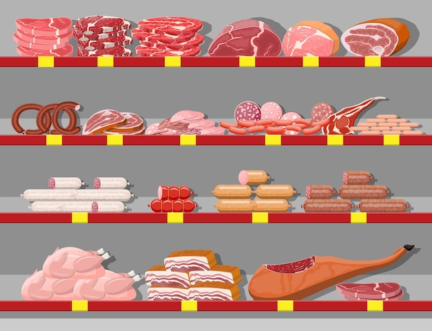 Prodotti a base di carne nello scaffale del supermercato. bancone vetrina macelleria negozio di carne. prodotto a fette di salsiccia. prodotto gastronomico di specialità gastronomiche di salame di pollo di manzo di maiale. stile piatto di illustrazione vettoriale