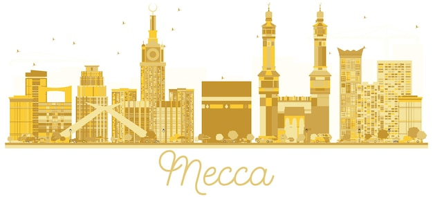 La mecca arabia saudita siluetta dorata dell'orizzonte della città. illustrazione vettoriale. concetto di viaggio d'affari. paesaggio urbano con punti di riferimento.
