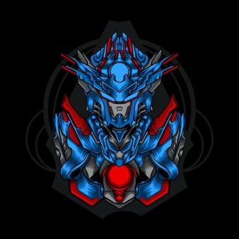 Illustrazione di combattente robot mech, robot combattente.