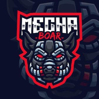 Modello di logo di gioco della mascotte del cinghiale mecha per lo streamer di esports facebook youtube
