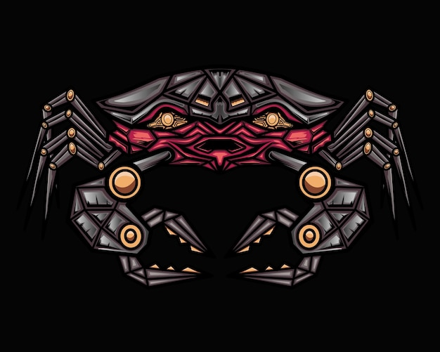 Mecha crab illustration grafica vettoriale