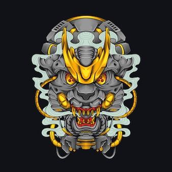Testa di mecha leopardo giaguaro cyberpunk illustrazione testa di gatto maglietta design con tema robot